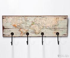 Wandgarderobe World Map Rectangular 55cm Garderobenleiste by Kare