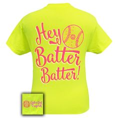 Girlie Girl Originals Preppy Softball Hey Batter Sports Safety Green Bright Short Sleeve Tee Shirt by SimplyCuteCottons on Etsy