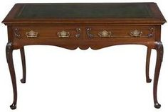 Victorian Antique Cabriole French Leg Writing Table Desk Leather ...