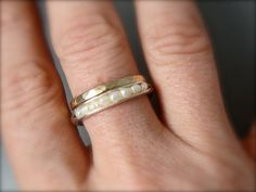petite pearl stack ring .. sterling silver by sirenjewels on Etsy