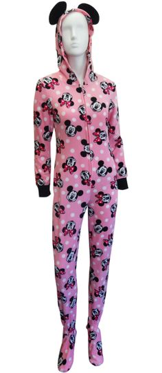 Disney's Minnie Mouse Pink Hooded Onesie Footie Pajama The perfect jammies for any Disney fan! These pajamas for women feature ...