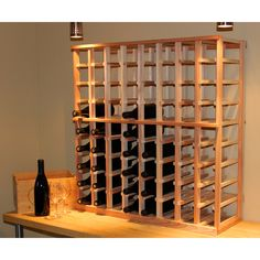 Standing just around 3 feet, this hand crafted 72 bottle redwood wine rack would look lovely in a kitchen or storage area.    #winerack