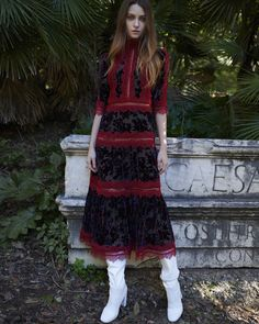 Costarellos Pre Fall - />Mock Neck Midi Dress with Sleeves Fashion Now, Fashion Outfits, Graphic Patterns, Fall 2018, Beautiful Eyes, Mock Neck, Lace Skirt, Ready To Wear, Gowns