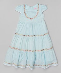 Light Blue Floral Tier Cap-Sleeve Dress - Infant, Toddler & Girls #zulily #zulilyfinds