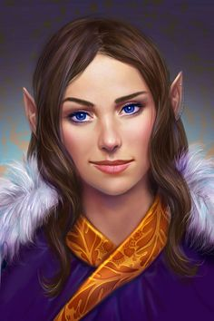f High Elf Bard Robes portrait Traveler by Cher-Ro lg Dungeons And Dragons Characters, Dnd Characters, Fantasy Characters, Female Characters, Fantasy Portraits, Character Portraits, Character Art, Character Ideas, Fantasy Women