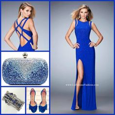 La Femme 22394 long prom dress - blue prom dress - homecoming dress - formal dress - pageant dress - jersey gown - shoulder cut outs - side slit - open back - strapped back - scattered rhinestone embellishments - style inspiration - tonal accessories - blue accessories - rhinestone clutch - blue heels