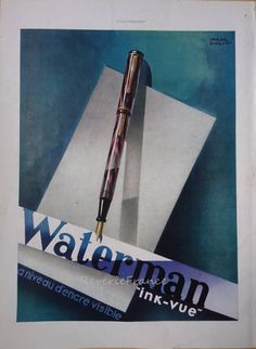 Vintage French Ad Waterman Pens 1937 by reveriefrance on Etsy