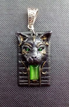 Cat polymer clay pendant by ClaymanPL on Etsy