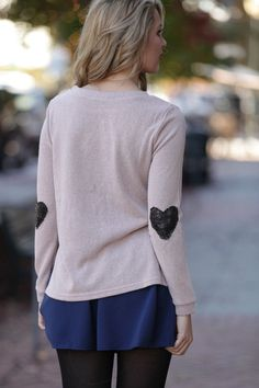"""""""We can't get enough of the black sequined heart detailing on the sleeves of our Heart's On the Line Cream Sweater! Shop Dress Up, Cream Sweater Dress, Playing Dress Up, Sweatshirts, Heart, My Style, Fall, Winter, Sleeves"""