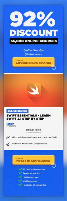 Swift Essentials - Learn Swift 2.1 Step by Step Mobile Apps, Development #onlinecourses #onlinetrainingproducts #onlineprogramslinkLearn the basics of new language that will help you go on to programme on Apple iOS 9 and Mac OSX Course updated December 2015! Become one of the world's earliest Swift developers with this introductory course on Apple's new programming language. A Modern Language ...