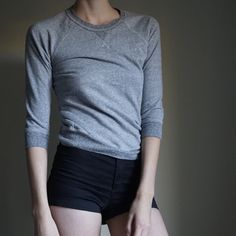 NSF pullover sweatshirt 3/4 length sleeves. Fitted look. Really cute and flattering fit. Can be hiked up to wear with high waisted things. NSF Sweaters Crew & Scoop Necks
