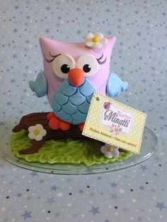 Topo de bolo corujinha Owl cake topper  ferminatti@gmail.com www.atelierminatti.com.br