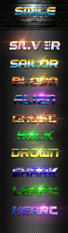 DOWNLOAD: goo.gl/rF8a0Nsmile light text Effect Vol 02This Text Effect is a Professional Photoshop Layer Styles, in this set, includes sources files Psd, ASL, and Help file, There Text E...