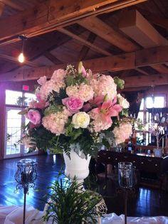 Altar Arrangement Featuring Hydrangeas, Stargazer Lilies and Peonies