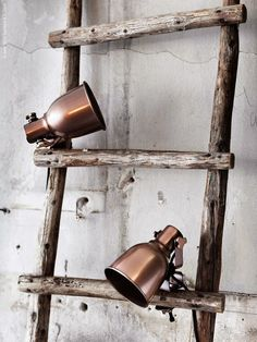 Vintage ladder and clip lights Lampe Industrial, Industrial Living, Industrial Chic, Hektar Ikea, Vintage Ladder, Deco Nature, Home And Deco, Scandinavian Interior, Home Decor Inspiration