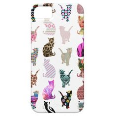 Girly Whimsical Cats aztec floral stripes pattern iPhone 5 Case