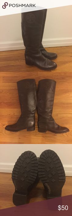 Tory Burch Brown Leather Riding Boots Size 5 Tory Burch Riding Boots in brown distressed style leather; embossed logo on cuff; size 5; good condition Tory Burch Shoes