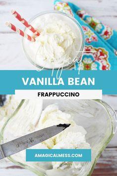 Vanilla Bean Frappuccino Recipe, Starbucks Vanilla, Vanilla Milkshake, Vanilla Bean Ice Cream, Milkshake Recipes, Vanilla Beans, Easy Drink Recipes, Drinks Alcohol Recipes, Tea Recipes