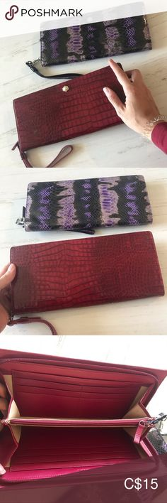 LODIS clutches Two LODIS clutches available One black faux crocodile pattern One purple and black python pattern Full zipper closure Fits 12 cards and has a coin purse Lodis Bags Clutches & Wristlets Plus Fashion, Fashion Tips, Fashion Trends, Purple And Black, Python, Crocodile, Wristlets, Clutches, Coin Purse