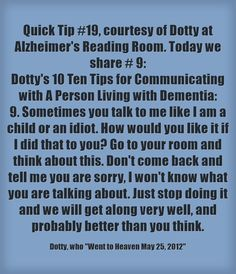 #quicktip #19 #notanidiot #gotoyourroom #thinkaboutit #dementia #approach #dotty #ctcdcm #communication Visit our website at http://www.CTCDementiaCareManagement.com