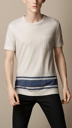 Burberry Brit Naval Stripe Cotton Linen T-Shirt