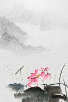 lotus ink landscape painting chinese style Chinese Landscape Painting, Chinese Painting, Landscape Paintings, Background Templates, Background Images, Pintura Vector, Lotus Art, Willow Branches, Tinta China