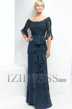 A-Line Princess Scoop Chiffon Mother Of The Bride Dress - IZIDRESS.com at IZIDRESS.com