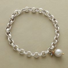 """NOB HILL PEARL BRACELET--One perfect gray freshwater cultured pearl, capped with 10kt gold, drops from Rebecca Lankford's sterling link bracelet with mystic labradorite drop and lobster clasp. Handcrafted in USA. Exclusive. 7-1/2""""L."""