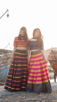 Fun trendy lehenga for a wedding Choli Designs, Lehenga Designs, Blouse Designs, Indian Skirt, Indian Dresses, Indian Outfits, Lehenga Pattern, Navratri Dress, Saree Styles