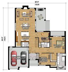 One Level Prairie Style House Plan - floor plan - Main Level House Plans One Story, Best House Plans, Modern House Plans, Small House Plans, Rustic Bedroom Design, Home Decor Bedroom, Contemporary Style Homes, Modern Homes, Prairie Style Houses
