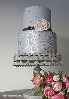 grey, jet black, and silver wedding cake I LOVE this cake!
