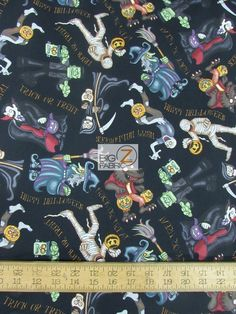 100% Cotton Quilt Fabric / A Haunting We Will Go Black By RJR Fabrics / Sold By The Yard