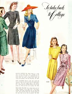 1943 collegiate fashion The blue one in the middle <3