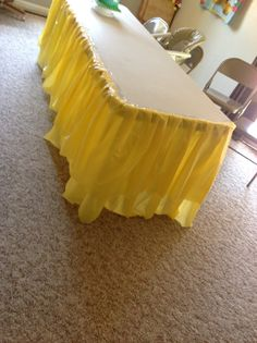 how to make a table skirt out of a plastic dollar store ...