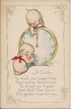 Vintage New Year's card...Kewpies and clock