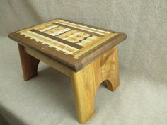 Handcrafted solid Wood Step Stool 13 long x 9 wide and 9 high. $58. Beautiful woodwork.