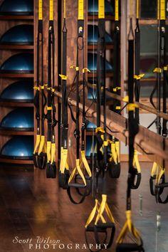 TRX at Exhale Pilates Studio. Love the bosu storage Trx Gym, Trx Yoga, Crossfit, Dance Studio Design, Basement Gym, Garage Gym, Gym Center, Pilates Video, Gym Room