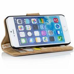 Golden Phoenix iPhone 6 Plus Ledertasche Royal Etui Wildleder hellbraun Aufstellfunktion