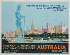 DP Vintage Posters - Victorian & Melbourne Centenary Celebrations. Original Australian Travel Poster. #Australia