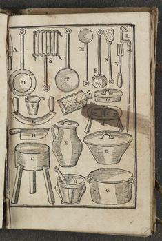 Kitchen equipment, in Altamiras, Juan. Nuevo Arte de Cocina, Sacado de la Escuela de la Experiencia Economica (Madrid,1760)