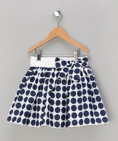 Take a look at this Navy Polka Dot Bow Skirt - Toddler & Girls by Matilda's Wardrobe on #zulily today!