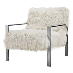 Skyler Upholstered Sheepskin Chair in Tibetan Ivory Woman Cave, Living Room Furniture, Study Chairs, Master Bedroom, Blanket, Ivory, Decorating, Inspiration, Live