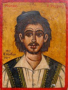 Νικόλας ο τσέλιγκας (1932) Byzantine Art, Face Art, Art Faces, Greek Art, Greek Mythology, Scenery, History, Drawings, Artwork