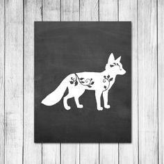 Fox Filagree Wall Art Chalkboard Style Decor Baby Nursery Print Digital Art Print by 1thirteen on Etsy https://www.etsy.com/listing/208438029/fox-filagree-wall-art-chalkboard-style