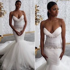 Lace Wedding Dresses, Unique Tulle Spaghetti Straps Neckline Mermaid Wedding Dresses With Rhinestones, Find your personal style and the perfect wedding dress for your special wedding day Custom Wedding Dress, Sexy Wedding Dresses, Designer Wedding Dresses, Bridal Dresses, Wedding Gowns, Bridesmaid Dresses, Ghana Wedding, Black Bride, American Wedding