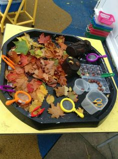 Children loved exploring the autumn tuff spot - Kinderbetreuung Tuff Spot, Sensory Table, Sensory Bins, Fall Sensory Bin, Nursery Activities, Preschool Activities, Indoor Activities, Family Activities, Investigation Area