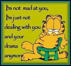 Garfield - no more drama.so funny. Garfield Quotes, Garfield And Odie, Garfield Cartoon, Garfield Comics, Garfield Pictures, Cartoon Cats, Life Quotes Love, Quotes To Live By, Quote Life