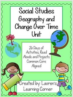 It can be a challenge to find time in the day to teach social studies, let alone prep for it! This Interdisciplinary Geography and Change Over Time Unit is designed so you can teach it during your ELA block! There are 26 days of lesson plans including:  -Read Alouds -Writing Activities -Cooperative Learning Opportunities  -Discussion questions  - Projects  -Craftivities and much more!  Minimal prep is required for this unit plan! Just print and teach! Enjoy!