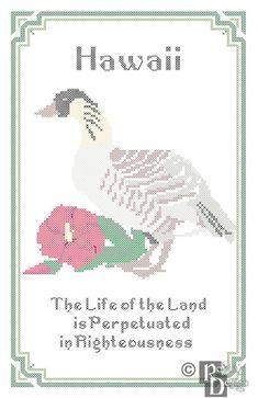Hawaii State Bird Flower and Motto Cross Stitch by robinsdesign