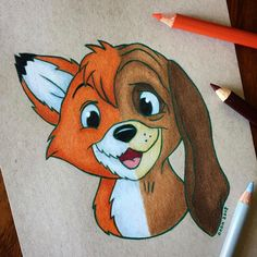 Dada16808 Disney Tod & Copper #cool_disney_crafts Cute Disney Drawings, Disney Sketches, Drawing Disney, Art Drawings Sketches, Easy Drawings, Simple Cartoon Drawings, Pencil Drawings, Easy Cartoon, Cartoon Cartoon